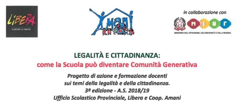 Legalità e Cittadinanza: come la scuola può diventare comunità generativa (2018-2019)